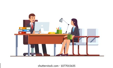 Boss or HR manager meeting job applicant woman in director office. Female employment candidate having job position interview. Modern business interior design flat vector illustration isolated on white