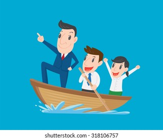 Boss leads employees, Businessman rowing team, Teamwork and Leadership concept