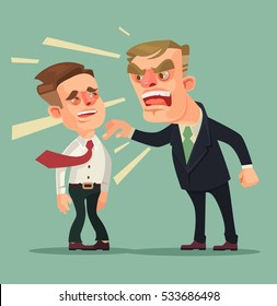 Boss man character screams on worker. Vector flat cartoon illustration