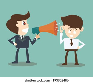 boss with megaphone yelling at businessman -  turning a deaf ear