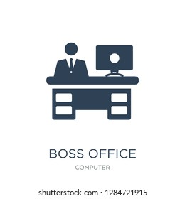 boss office icon vector on white background, boss office trendy filled icons from Computer collection, boss office vector illustration