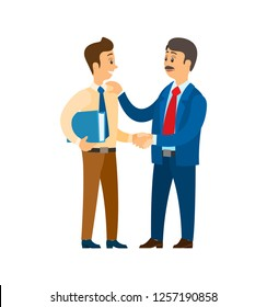 Boss praising worker at job, good company leader vector. Chief executive businessman talking to colleague, entrepreneur approving workmate with files