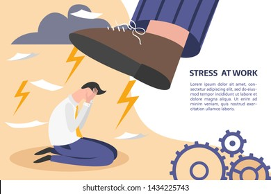 Boss pressure employee; tired, exhausted worker dealing with overly demanded pushy boss. Unrealistic expectations, deadline, stress disorder at work concept. How to eliminate stress at work banner.