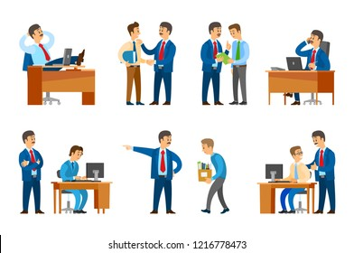 Boss professional leader of company firing man and giving official rebuke to worker vector. Director resting in office, supervisor of novice newbie