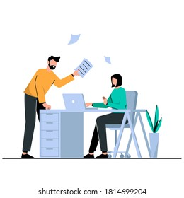 A boss scolds an employee at the office, office work. Concept vector illustration