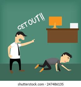Boss shouting at employee, vector illustration.
