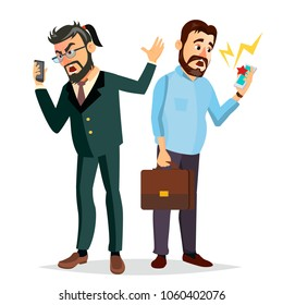 Boss Shouting On Phone Vector. Screaming, Problem, Quarrel Concept. Boss In Action. Talking To Each Other. Environment Process. Isolated Flat Cartoon Business Character Illustration