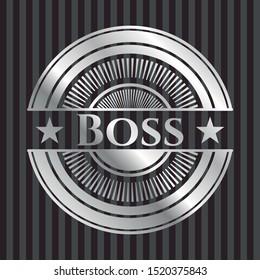 Boss silver shiny emblem]. Vector Illustration. Mosaic.