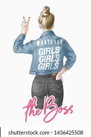 the boss slogan with girl in denim jacket illustration