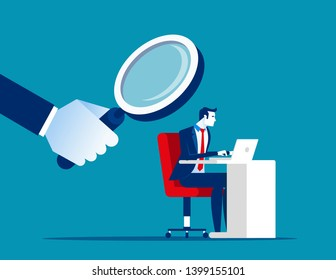 Boss is watching over employee. Concept business vector illustration, Privacy, Watching.