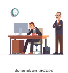 Boss watching over shoulder of a sleeping at work employee. Tired business man. Flat style modern vector illustration.