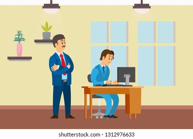 Boss watching working process of novice worker vector. Office interior with decoration plants and window. Employer and employee on first day on job