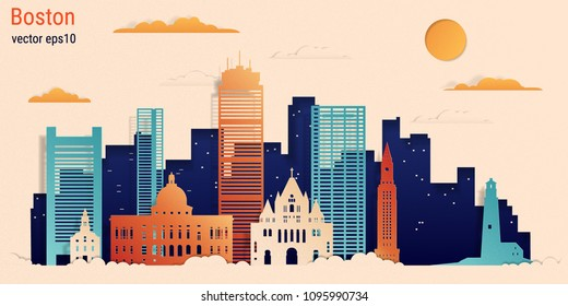 Boston city colorful paper cut style, vector stock illustration. Cityscape with all famous buildings. Skyline Boston city composition for design