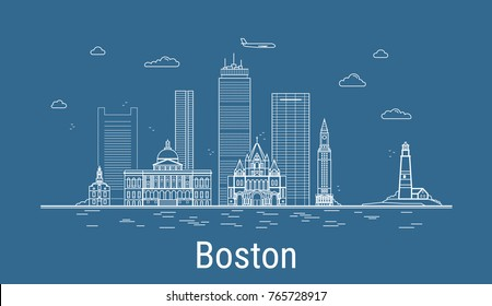 Boston city, Line Art Vector illustration with all famous buildings. Linear Banner with Showplace. Composition of Modern buildings, Cityscape. Boston buildings set