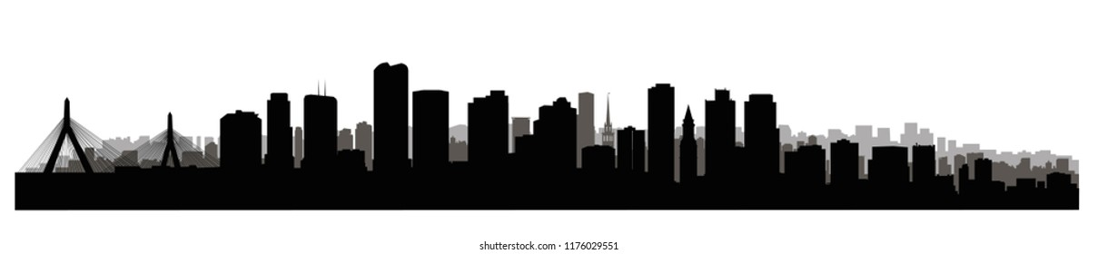 Boston city, Massachusetts, USA skyline. Cityscape panoramic silhouette with famous buildings. American landmarks. Urban  architectural landscape.