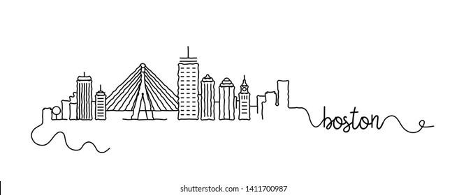 Boston City Skyline Doodle Sign