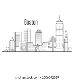Boston city skyline - downtown cityscape, city landmarks in liner style