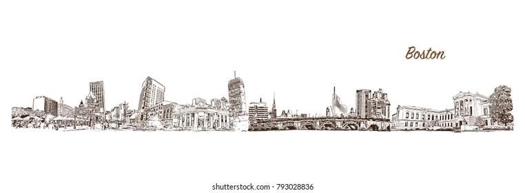 Boston City skyline in Massachusetts. Hand drawn sketch illustration in vector.