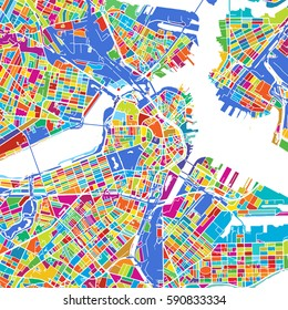 Boston Colorful Vector Map, printable outline Version, ready for color change, Separated On White