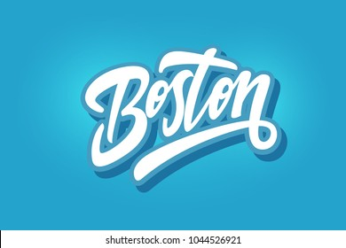 Boston hand written city name.Modern Calligraphy Hand Lettering for Printing,background ,logo, for posters, invitations, cards, etc. Typography vector.