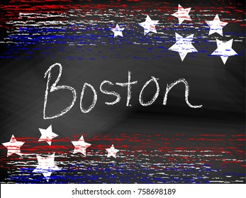 Boston  headline written in chalkboard text with red white and blue patriotic chalk lines and stars. Hand written / drawn text, vector format. Useful for 4th of July or Memorial Day projects