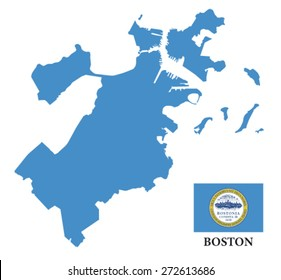 boston map with flag
