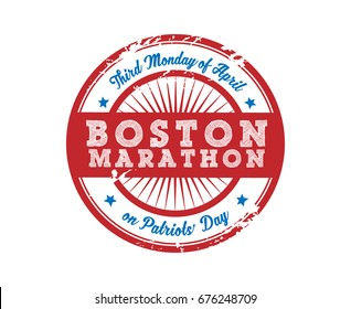 Boston Marathon sporting Event Patriots Day Badge Label Sticker Sign