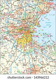 Boston, Massachusetts area map
