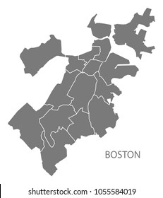 Boston Massachusetts city map with boroughs grey illustration silhouette shape