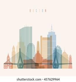 Boston Massachusetts city skyline silhouette. Transparency style poster. Vector illustration.