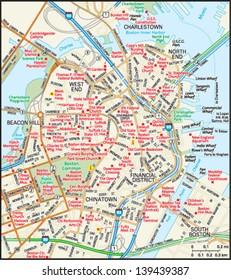 Boston, Massachusetts downtown map