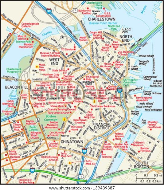 Boston Massachusetts Downtown Map | Transportation ...