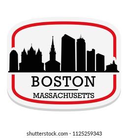 Boston Massachusetts  Label Stamp Icon Skyline City Design Tourism