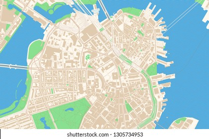 Boston Massachusetts printable map excerpt. This vector streetmap of downtown Boston is made for infographic and print projects.