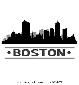 Boston Massachusetts. Silhouette City Skyline. Landmark Design Wall Art. Urban Cityscape Clip Art. Cut File Vector.