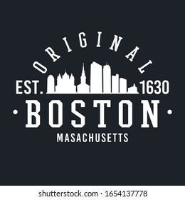 Boston Massachusetts Skyline Original. A Logotype Sports College and University Style. Illustration Design.