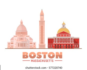Boston Massachusetts (USA) landmarks. Isolated objects famous city buildings. Vector illustration.