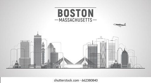 Boston ( Massachusetts, USA ) line city skyline with panorama in white background. Vector Illustration. Business travel and tourism concept with modern buildings. Image for presentation, web.