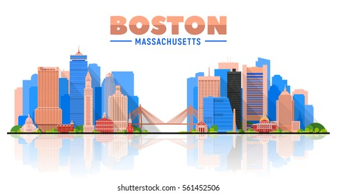 Boston ( Massachusetts, USA ) skyline with panorama in white background. Vector Illustration. Business travel and tourism concept with modern buildings. Image for presentation, banner, web site.