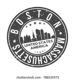 Boston Massachusetts USA Stamp Logo Icon Symbol Design Skyline City