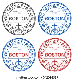 BOSTON postmarks. Set of colored ink stamps. Vector illustration isolated on white background