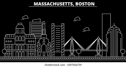 Boston silhouette skyline. USA - Boston vector city, american linear architecture, buildings. Boston travel illustration, outline landmarks. USA flat icon, american line banner