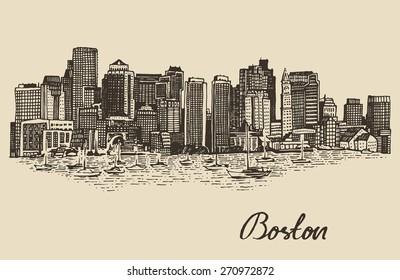 Boston skyline, big city architecture, vintage engraved vector illustration, hand drawn, sketch.
