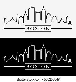 Boston skyline. Linear style. Editable vector file.