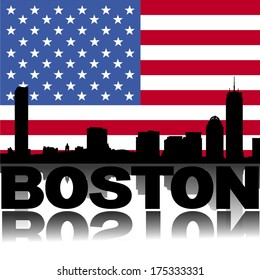 Boston skyline and text reflected with American flag vector illustration