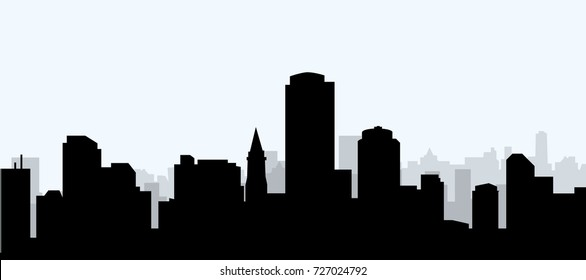 boston morning stock vectors images vector art shutterstock rh shutterstock com Boston City Skyline Silhouette Boston Massachusetts Skyline