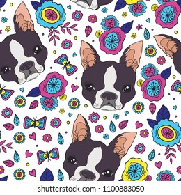 Boston terrier and beautiful flowers vector seamless pattern.