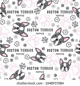 Boston Terrier : Dog breed collection : Seamless Pattern : Vector Illustration