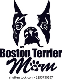 Boston Terrier Dog Breed Love Peeking Pet Puppy Mom Design Element Ribbon Isolated Head Face