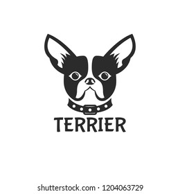 Boston terrier dog logo. Service, store, shop, shelter, care vector illustration icon.